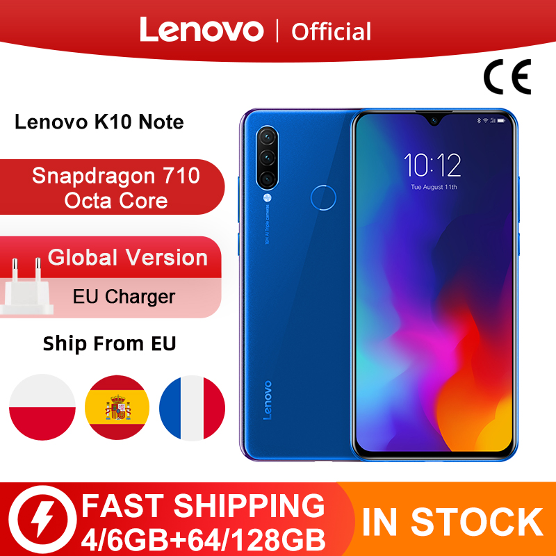 Version mondiale Lenovo K10 Note(Z6 Lite) Snapdragon 710 Octa Core Triple cames arrière 6.3 pouces 19.5:9 goutte d
