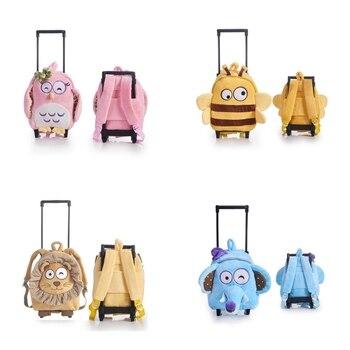 Carry On Backpack Plush Panda for Children Toddler Boy Girl Rolling Handbag with Detachable Wheels