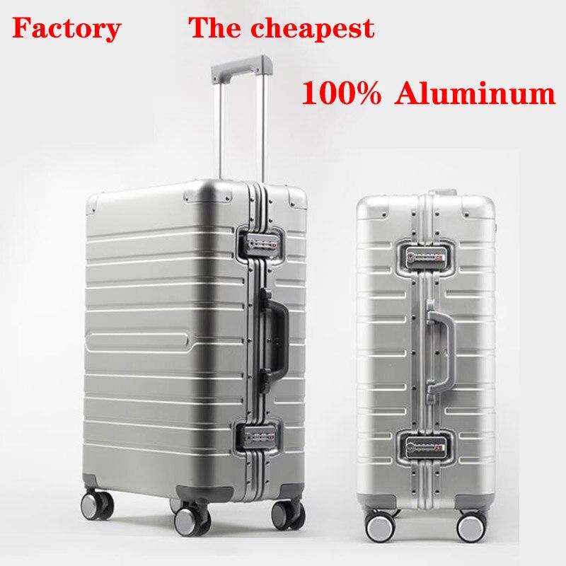 100% de equipaje de aluminio para viaje, Maleta de viaje de 20