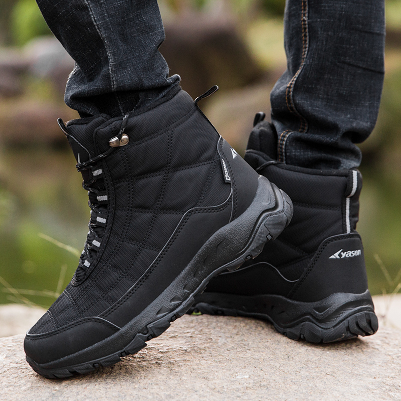 Platform Men Snow Boots Waterproof Slip-resistant Mens Winter Shoes Plush Warm Shoes Winter Black Ankle Boots Size 40 - 45