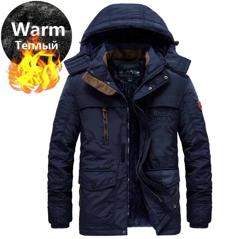 Thicken Fur Hooded Winter Parkas Men Plus Size 5XL 6XL Military Warm Fleece Cotton Parka Winter