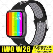 1.75 polegada relógio inteligente iwo w26 w26m série 6 bluetooth chamada monitor de freqüência cardíaca ecg termômetro smartwatch pk w46 t500 relógio inteligente