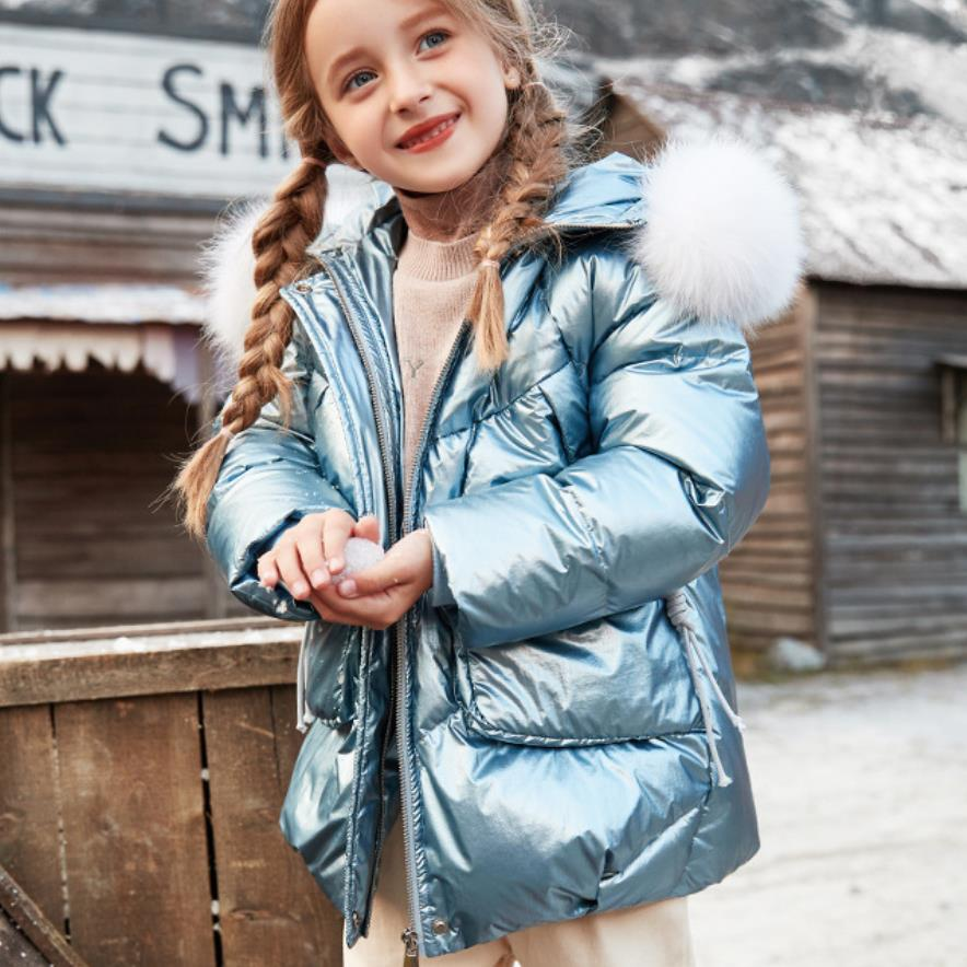 Brand Children 94% White Duck Down Jackets Winter New Thicken Glossy Down Coats Girls Clothes Teenage Outerwear Ws1258