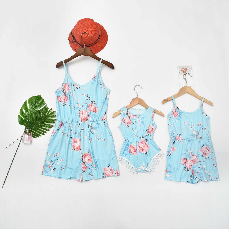 Tank mono con pantalones largos vestidos para madre e hija con estampado floral para la familia, ropa a juego para mamá y yo, vestidos para mamá y bebé