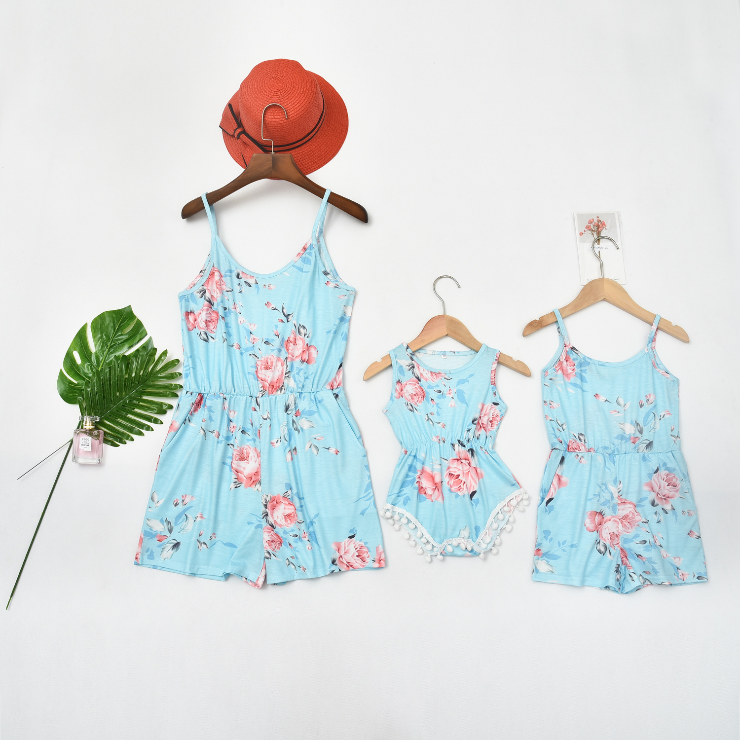Tank Overall Pants Mother Daughter Dresses Family Look Floral Print Mommy And Me Matching Clothes Outfits Mom Mum And Baby Dress