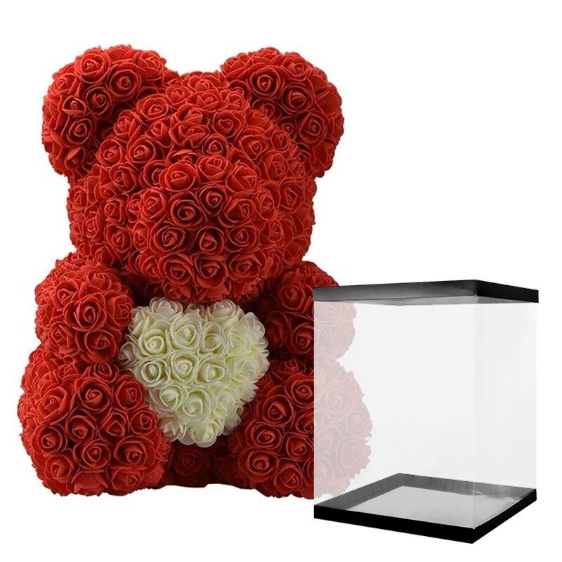 2021 Dorpshipping плюшевый мишка в подарочной коробке, мишка из роз, искусственный цветок, подарок на свадьбу, День матери для женщин