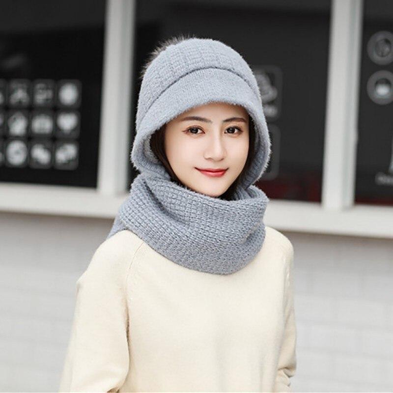 2 шт модная женская Милая теплая вязаная шляпа Skullies лыжные шапочки шапка и шарф набор