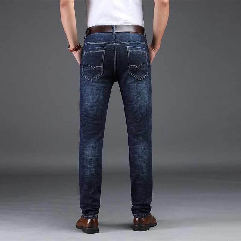 Jeans Men's Business 2019 Autumn New Style Young And Middle-aged Men Casual Slim Fit Straight-Cut Versitile Fashion Long Pants