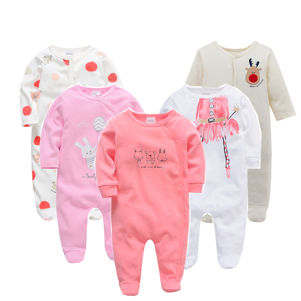 Baby Girl Boy Footies Winter Newborn Baby Boy Girl Jumpsuits Long Sleeve Cartoon Infant Clothing Sets Roupa De Bebes 3m 6m 9m12m