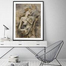 Famoso artista dipinto su tela ragazza con un mandolino Gioia arte murale poster astratti e stampe immagini murali per soggiorno