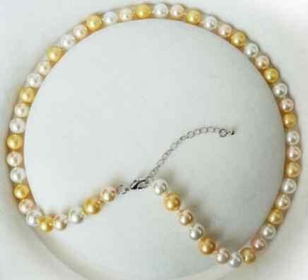 แฟชั่น 8 มม.สีขาวสีชมพูสีเหลือง Pearl กลม Necklac
