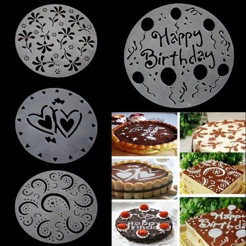 4PCS PP Cakes Flower Spray Templates Birthday Cake Decoration DIY Baking Mold Fondant Template Cake Template Set