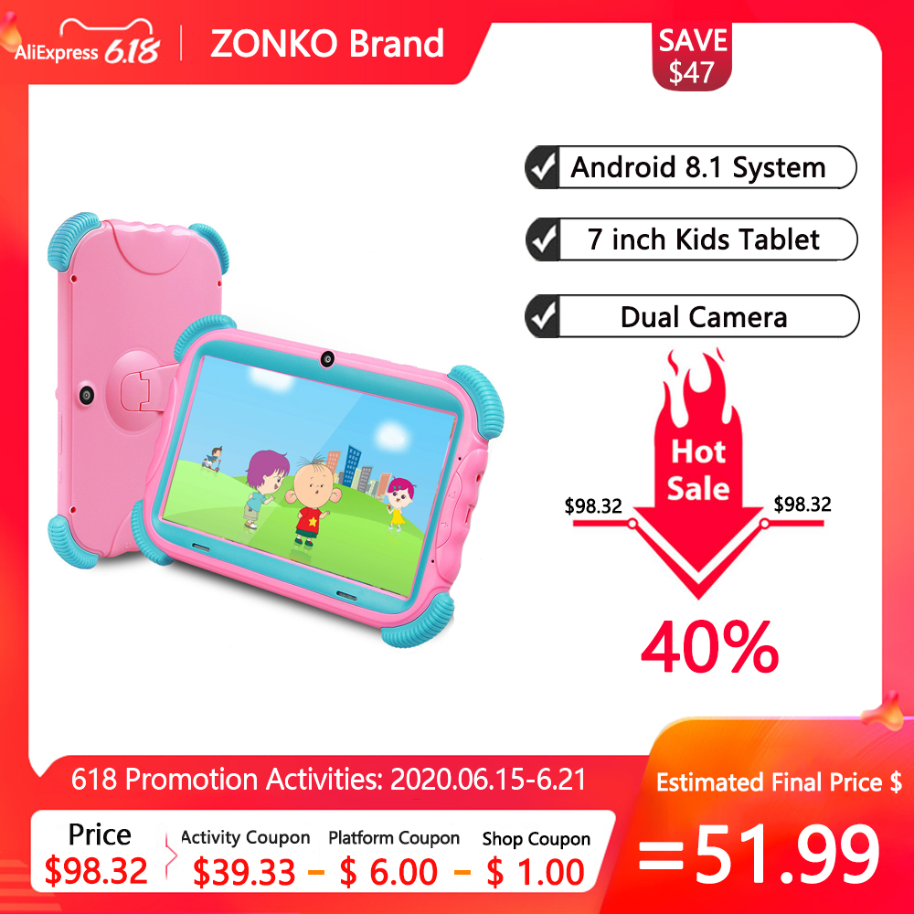 ZONKO 7 Inch Kids Tablet Android 8.1 Study Painting Tablet PC 2GB RAM 16GB ROM Wifi Quad Core Dual Cameras Children Gift Tablets
