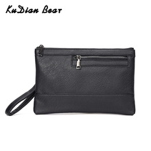 KUDIAN BEAR Business Men Clutch Bag Fashion Male Wristlet Handbag Simple Black PU Leather Envelope Bags For Phone BIX361 PM49