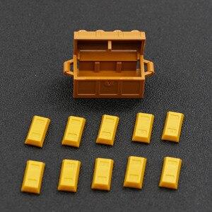 Image 5 - Gold Geld Stadt Bausteine Zubehör Bullion 100 Dollar Bill Freunde bank Bar Silber Pirate Schatz Abbildung DIY Ziegel Spielzeug