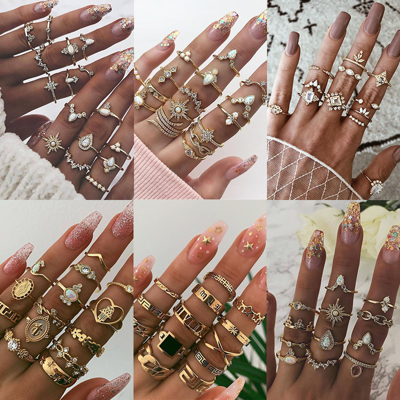 KSRA Boho Vintage Gold Star Knuckle Rings For Women BOHO Crystal Star Crescent Geometric Female Finger Rings Set Jewelry 2020(China)