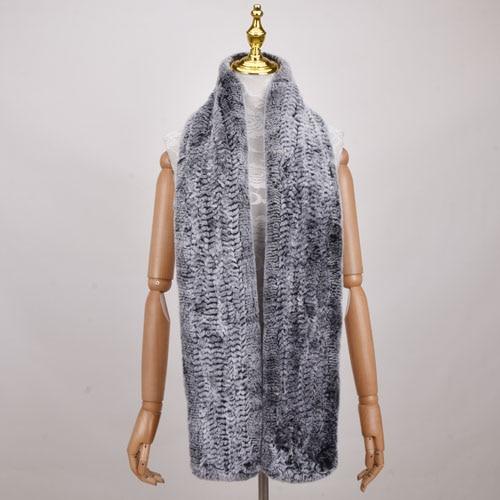 170cm Long Real Genuine Rex Rabbit Fur Scarf Lady Winter Knitted Real Rex Rabbit Fur Scarves women Men Rex Rabbit Fur Shawl(China)