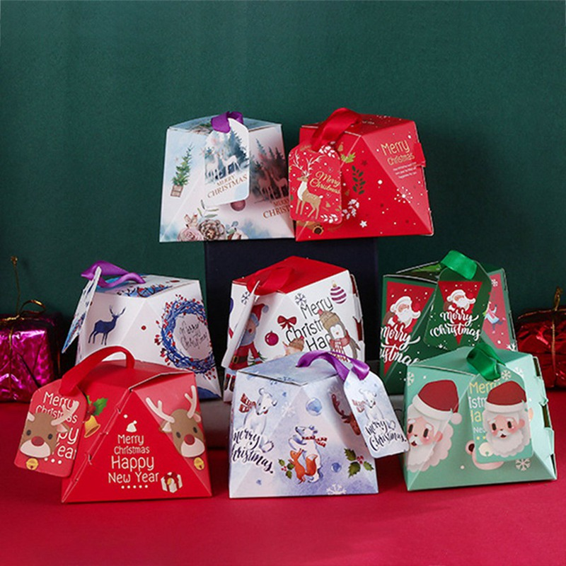 5pcs/lot Cartoon Santa Claus Christmas Candy Box Red Green Cube Package Cookies Boxes Kids Party Decoration Xmas Paper Gift Box