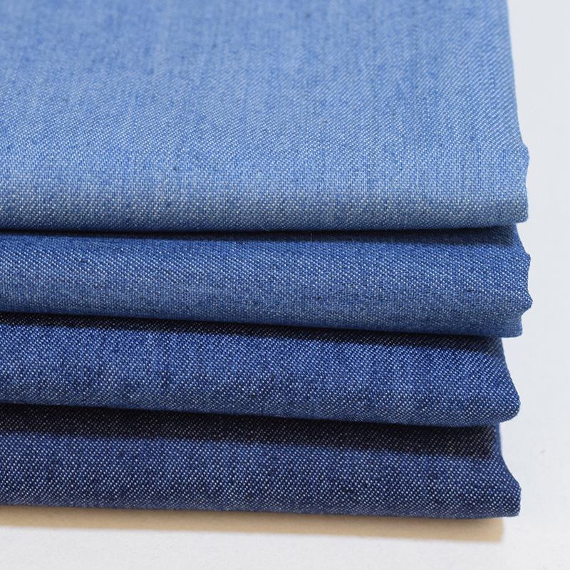 Plain woven jeans denim fabric 35% polyester 65% cotton washed for jeans coat