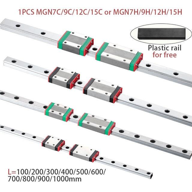 MGN7 MGN12 MGN15 MGN9 L 100, 200, 350, 500, 600, 800mm miniatura de carril lineal slide 1 Uds MGN guía lineal MGN transporte CNC 3D impresora