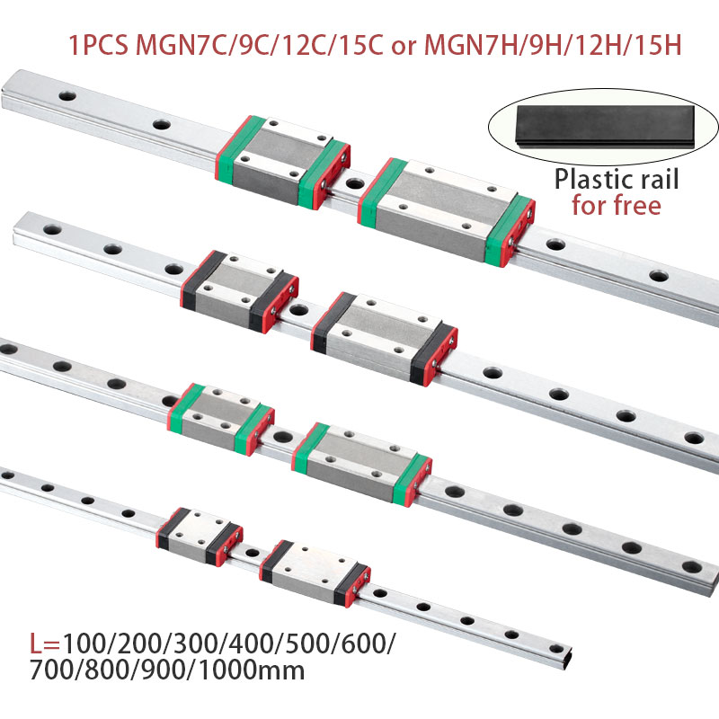 MGN7 MGN12 MGN15 MGN9 L 100 200 350 500 600 800mm Miniature Linear Rail Slide 1pcs MGN Linear Guide MGN Carriage CNC 3D Printer