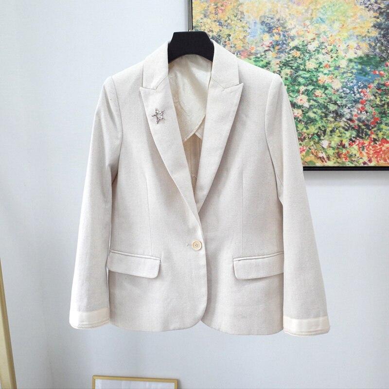 Women Coat New Comfortable Plaid Suit Cotton Linen Jacket