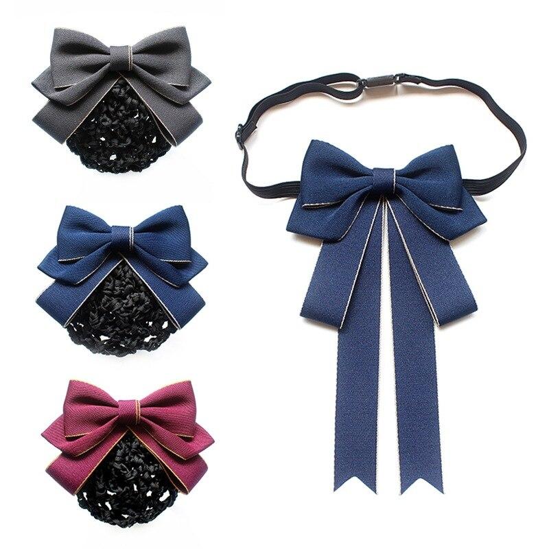 Fashion Cloth Adult Bow Tie Female Professional Shirt Collar Flower Brooch Hair Pin Bowtie Nurse Hotel Net Bag Women Accessories