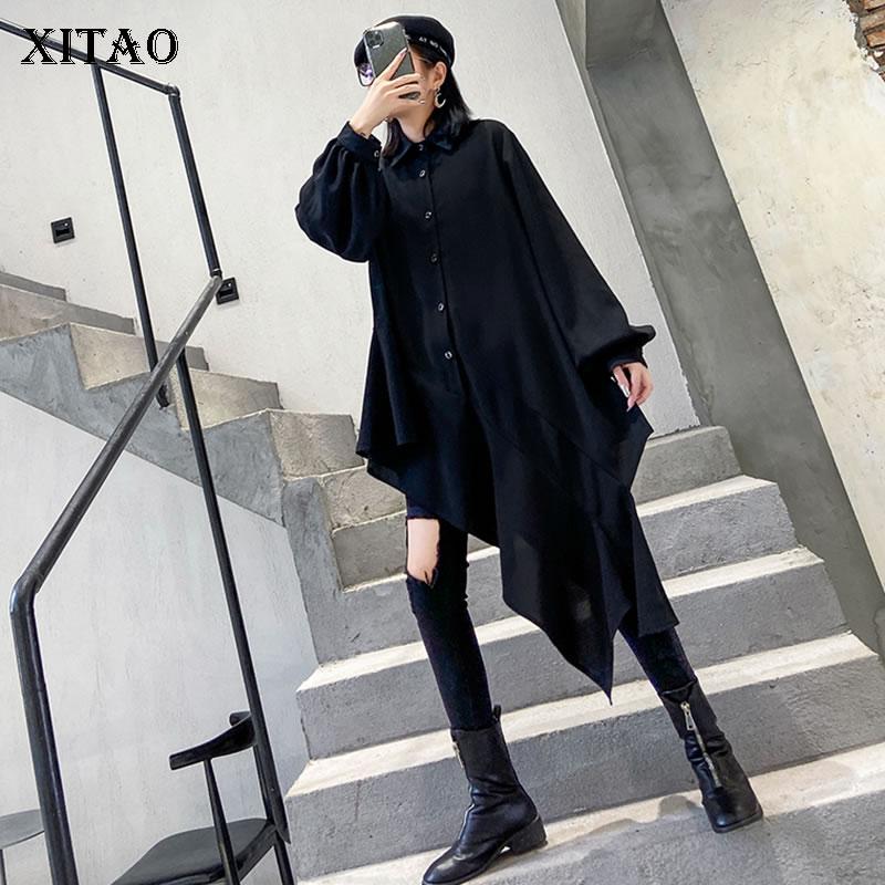 XITAO Harajuku Irregular Women Tops Fashion Wild Plus Size Women Shirts Trend Spring 2020 New Long Shirt Streetwear DMY2776
