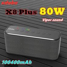 Xdobo x8 plus 80w portátil sem fio bluetooth alto-falante tws subwoofer e capacidade da bateria 10400mah função de banco de potência de quatro núcleos