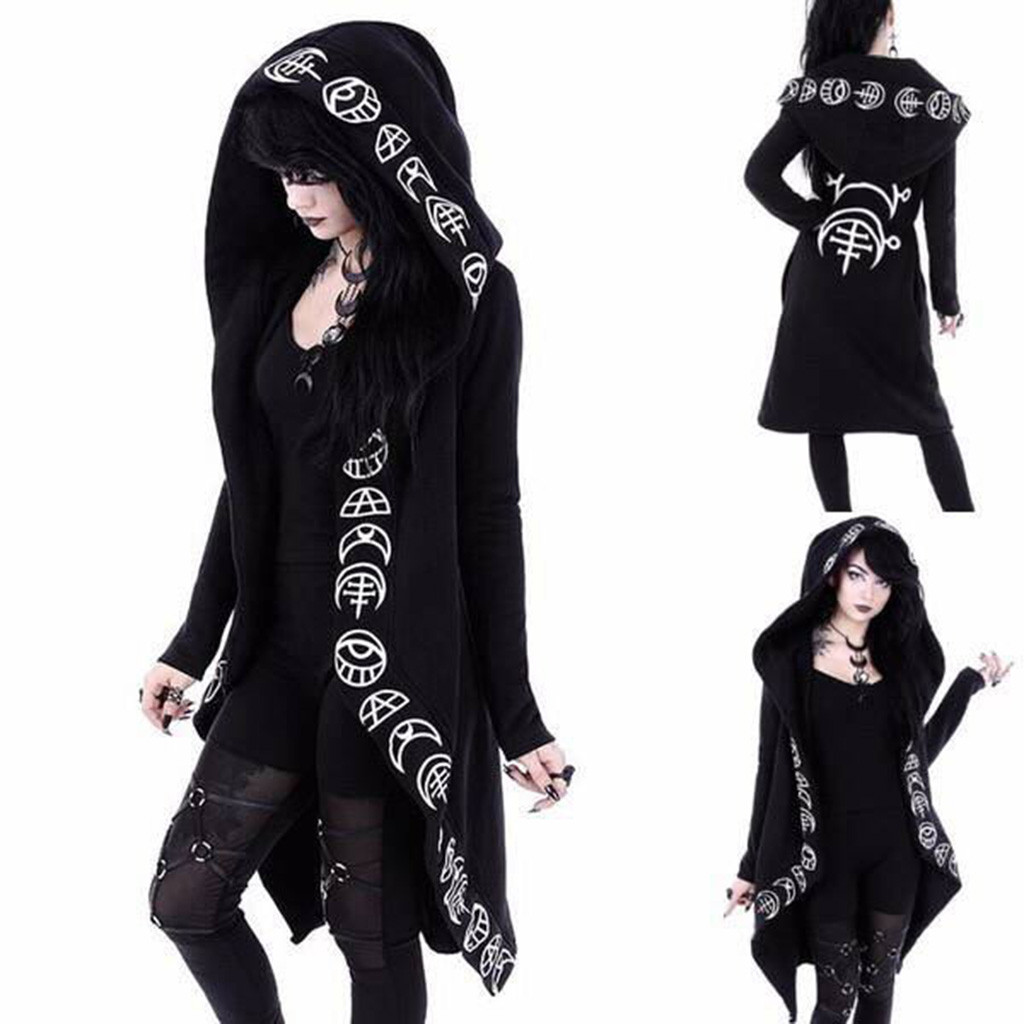 H85522f2a290b4df2a7bae903084fc8ca7 Women Long Sleeve Punk Moon Print Hooded Black Cardigan Jacket Coat Plus Size S123