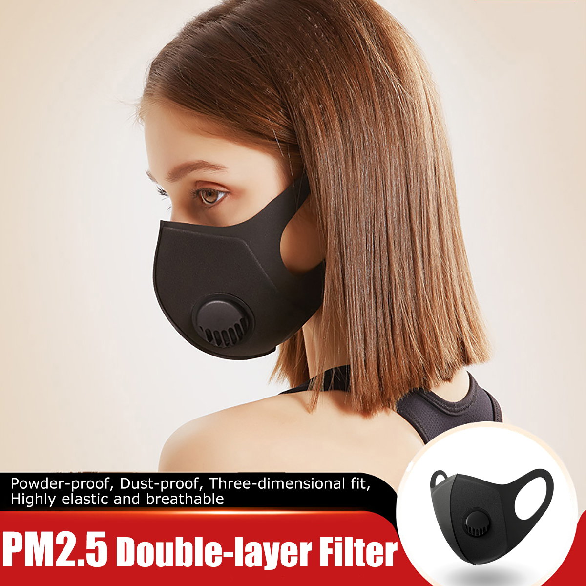 korean Cotton Anti Dust Mouth Face Mask Kpop Unisex mask with 2pcs Carbon Filter Medical KN95 Anti PM2.5 Black Mouth-muffle Mask