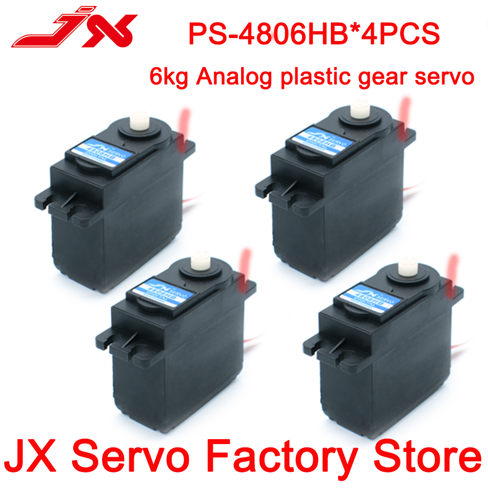 Jx servo 4 pces PS-4806HB 6kg padrão plástico servo motor da engrenagem de direção para rc modelos peças de controle remoto acessório