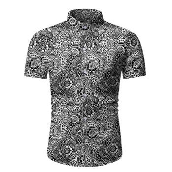 Czarna koszula Paisley mężczyźni 2020 Brand New letnia hawajska koszula plażowa mężczyzna z krótkim rękawem kwiatowy koszula hawajska mężczyzna Camisa Masculina tanie i dobre opinie Liva girl Polyester Casual Shirts Skręcić w dół kołnierz Pojedyncze piersi Koszule REGULAR Men Shirt Suknem Na co dzień