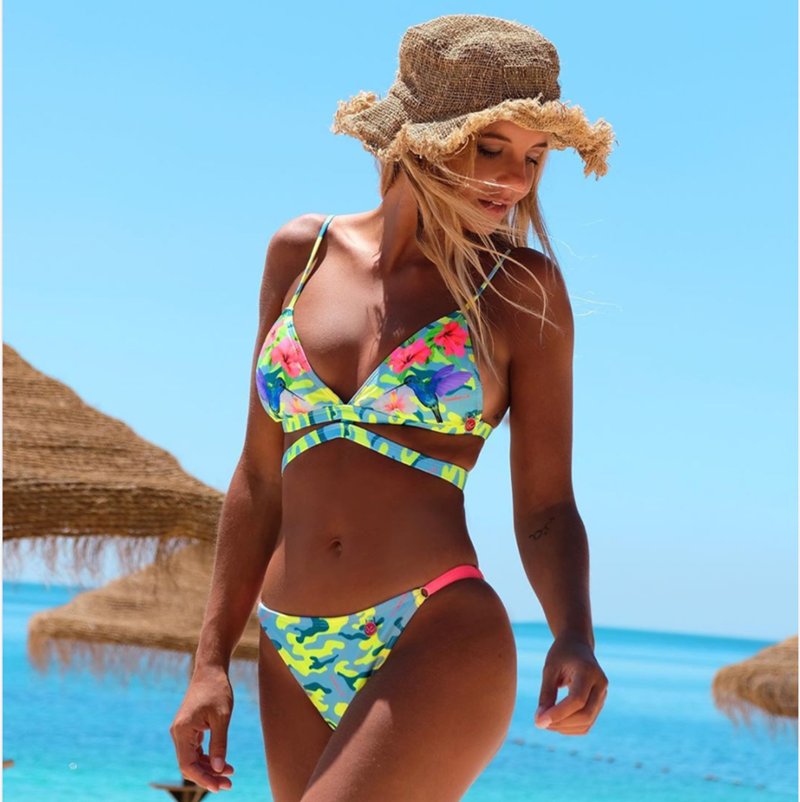 Micro <font><b>Bikinis</b></font> <font><b>Women</b></font> Swimsuit <font><b>Bikini</b></font> Set Printed Triangle Swimwear <font><b>Women</b></font> <font><b>Bikini</b></font> <font><b>Sexy</b></font> <font><b>Floral</b></font> Bathing Suit Backless <font><b>Bandage</b></font> Biquini image