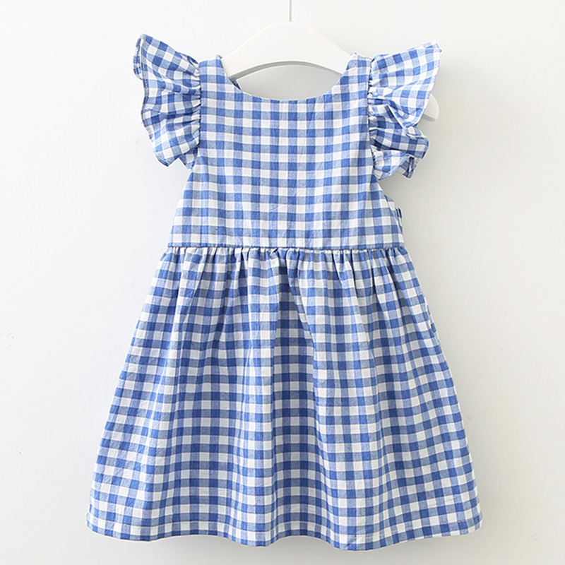 2021 New Summer Flying sleeve Plaid Baby Girl Clothes Ruffles Backless Children Dress Leisure Lovely Baby Dress Kids Clothing 2