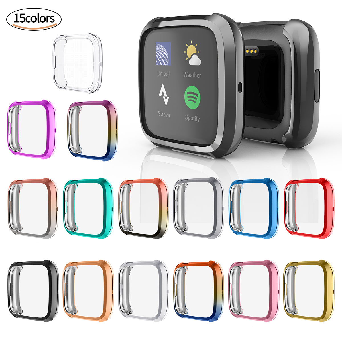 TPU Cover For Fitbit Versa 2 Screen Protector Case Electroplated Watch Case For Fitbit Versa 2 Watch Protective Frame Shell