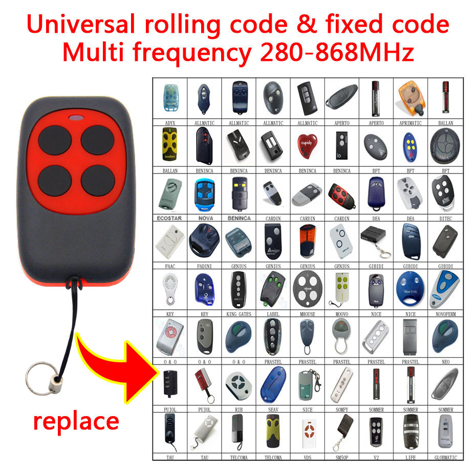 4 In 1 Universal Duplicate Garage Gate Door Remote Control LIfe AVIDSEN JCM Garage Gate Key Fob 433.92mhz 868mhz