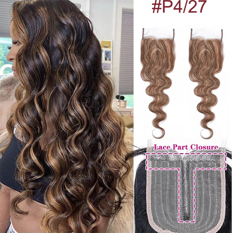 HD Transparent Human Hair Lace Closure Only Body Wave 4X1 Inch Highlight P4/27 Bresilienne Cheveux Humain Non-Remy Brazilian