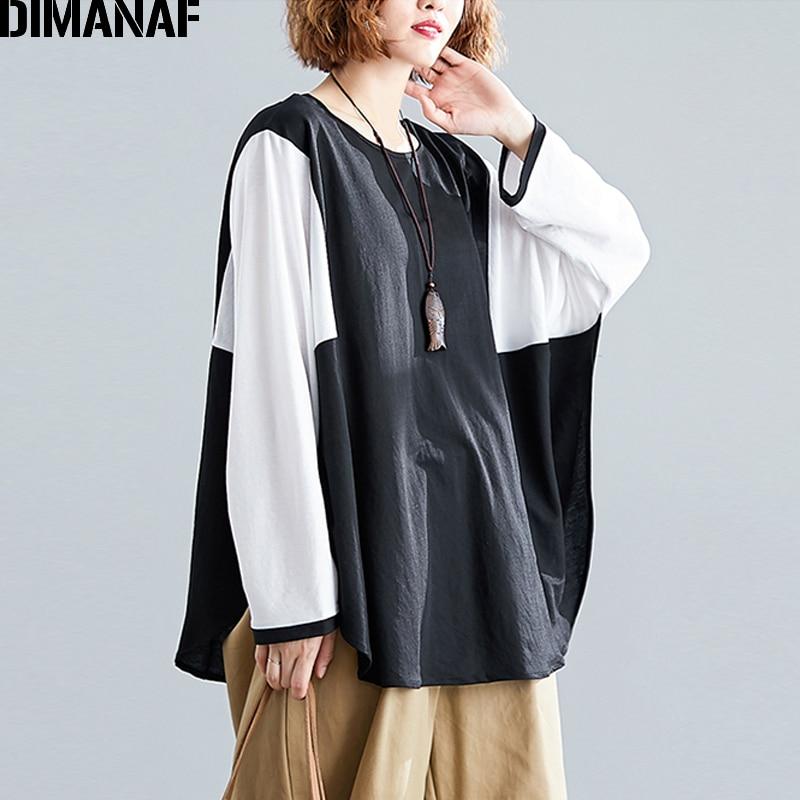 Dimanaf Женский, футболка, плюс размер, рукав летучая мышь, осень, хлопок, пэчворк, черный, женский, Повседневный, базовый, топы, футболки, туника, o образный вырез, футболка
