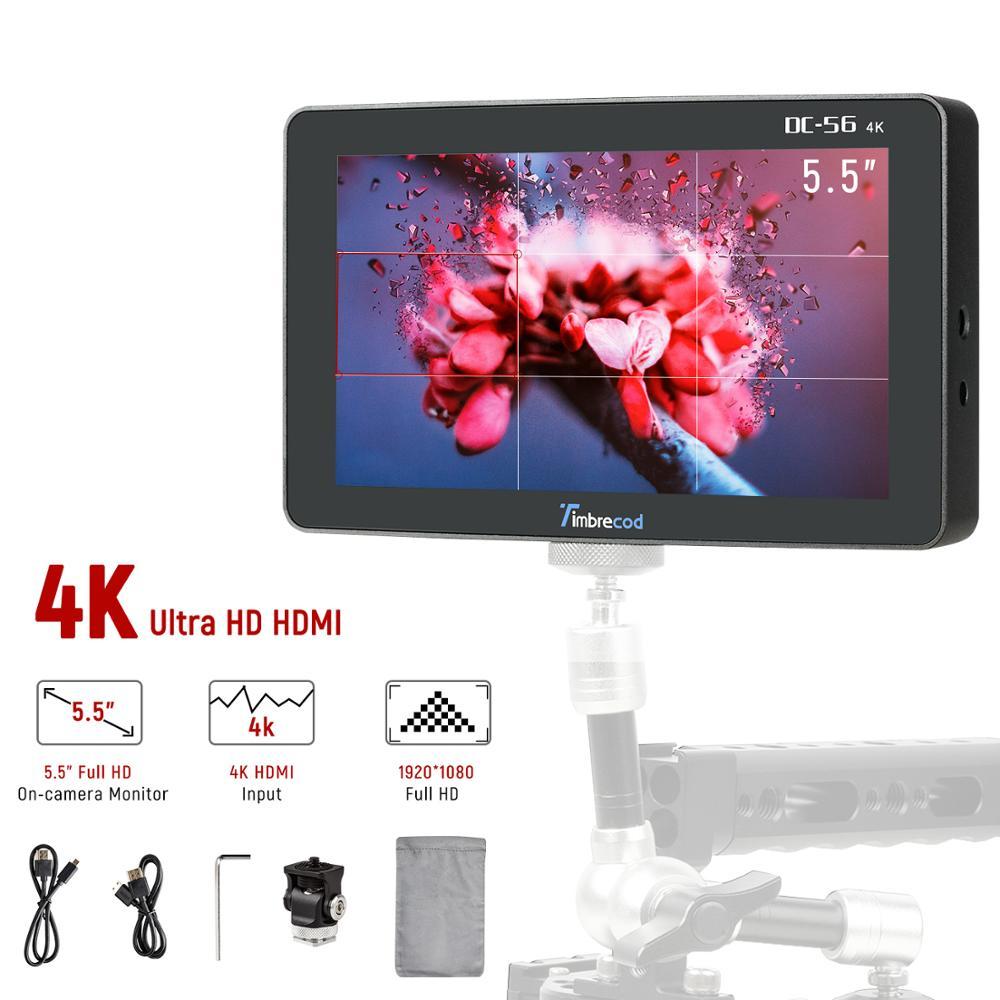 Timtrecod 5,5-Zoll Kamera Feld Monitor, ultra HD 1920x1080 IPS Bildschirm 4K HDMI/AV Video Monitor Gebaut-in 3500mAh Batterie