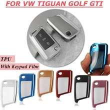Zachte TPU Auto Remote Smart Key Cover met Toetsenbord Film voor VW Volkswagen Tiguan Golf7 GTI Octavia Case bag Styling accessoires