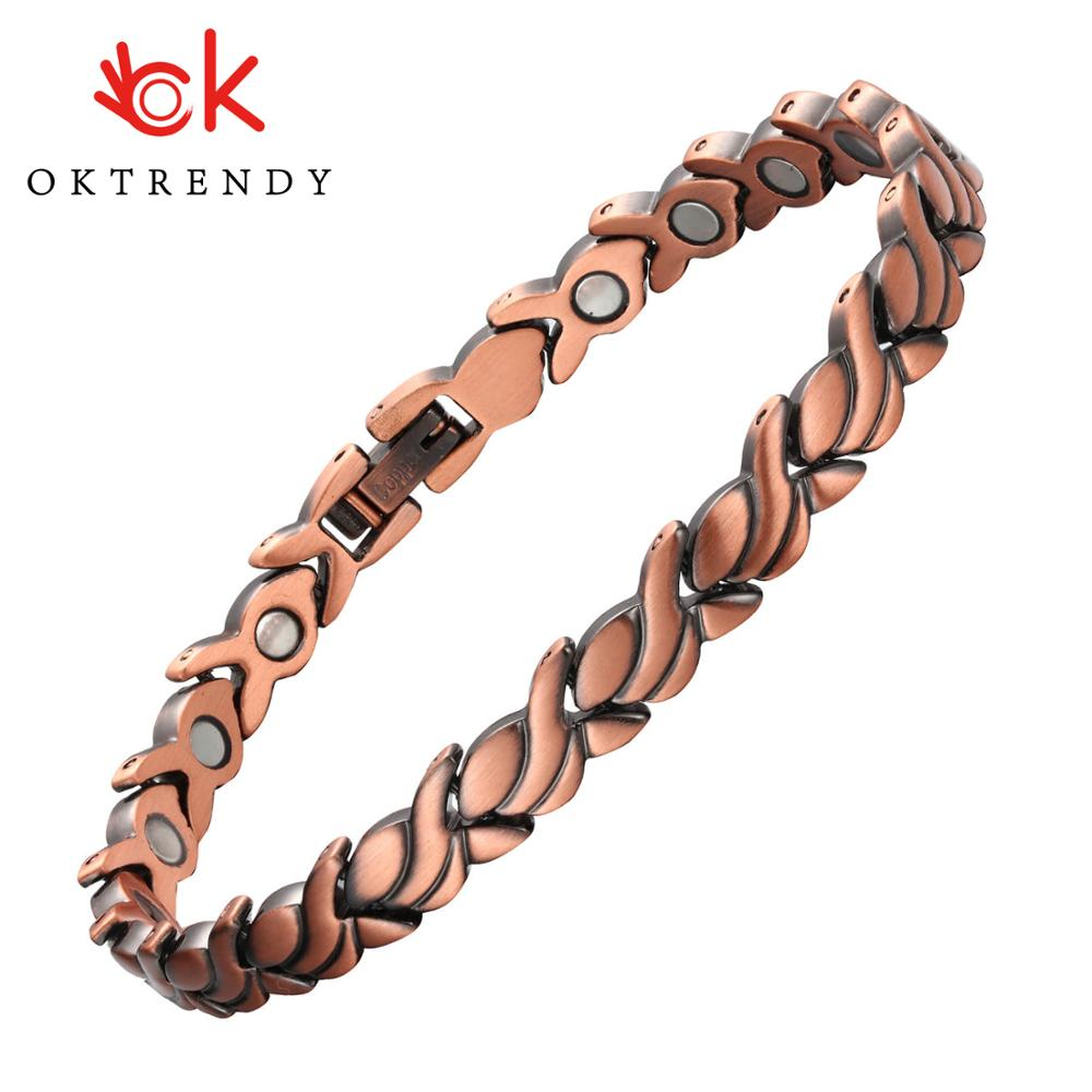 Pure Copper Magnetic Bio Energy Bracelets & Bangles for Women Healing Magnet Bracelet Blood Pressure Female Jewelry Wholesale