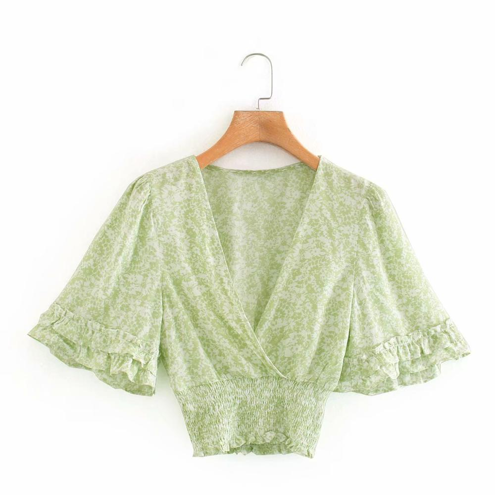 New 2020 Women V Neck Agaric Lace Butterfly Sleeve Hem Elastic Smock Blouse Female Print Kimono Shirts Chic Chemise Tops LS6733