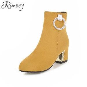 Image 5 - Rimocy bottines courtes avec boucle en cristal pour femmes, chaussures jaunes, en daim, grande taille, printemps