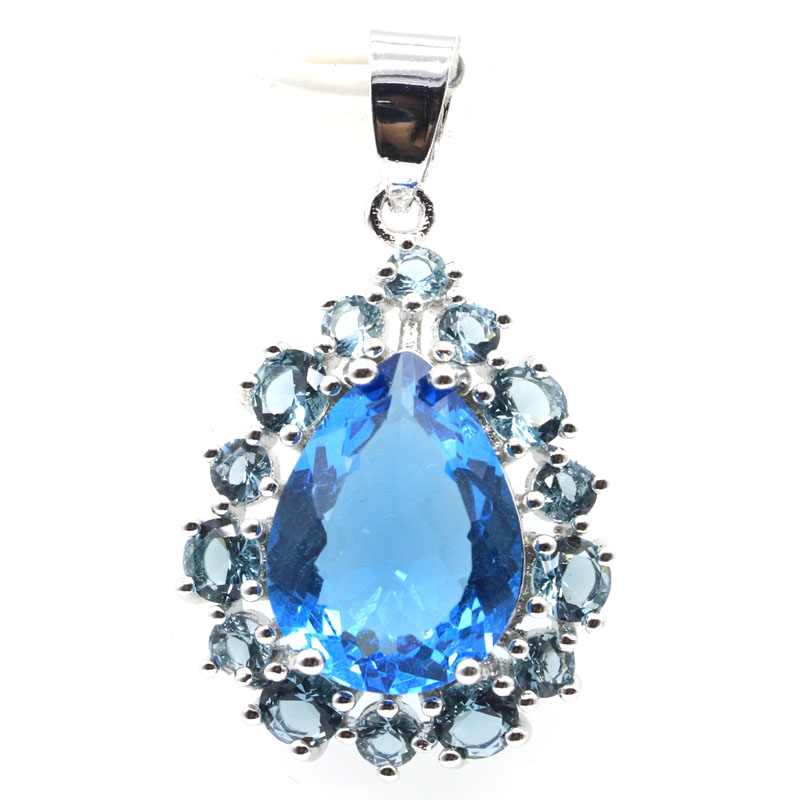 35x21mm Deluxe European Created London Blue Topaz Ladies Gift Silver Pendant