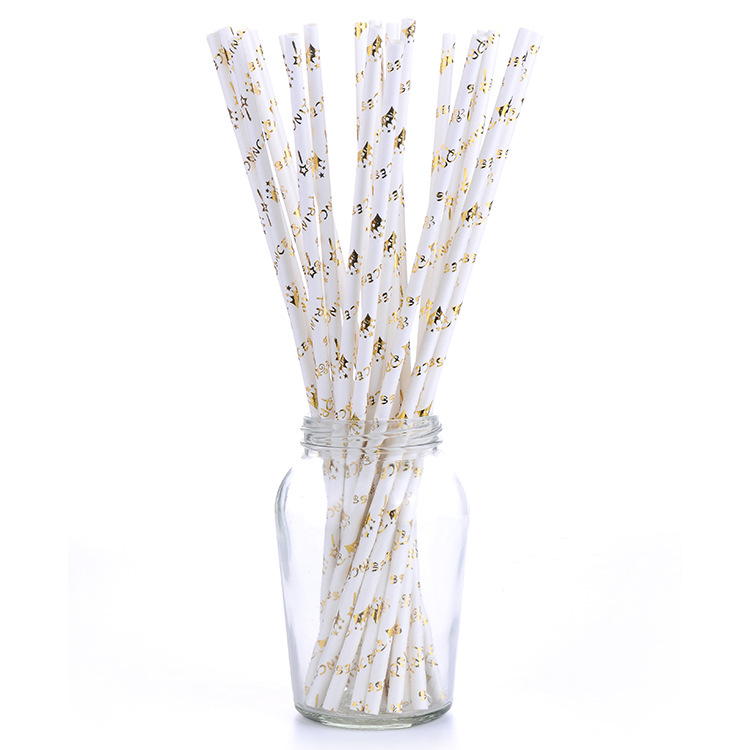Environmentally Friendly Disposable Hard Paper Straw Bronze Creative Art Decoration Beverage Suction Pipe Biodegradable Paper St