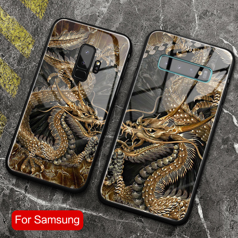 Chinese Style dragon Tempered glass phone case shell coque for Samsung galaxy note10 s8 s9 s10e s10 plus note 10 8 9 10 PLUS image