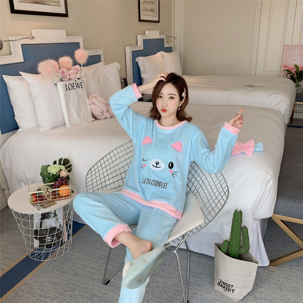 Betyline 2019 New Winter Pajamas For Women Sleepwear Warm Flannel Long Sleeves Pajamas Cute Animal Homewear Thick Homewear 178