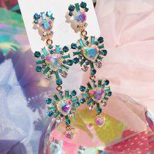 Coreano nova venda quente de luxo coração cristal longo pendientes mujer moda exagerada colorido gota brincos festa jóias