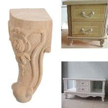4 pces 10x6cm estilo europeu de madeira maciça esculpida móveis pé pés tv gabinete assento feets
